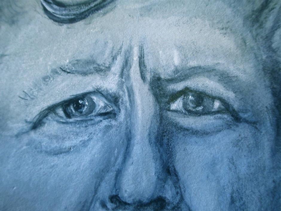crooked nose; sad eyes